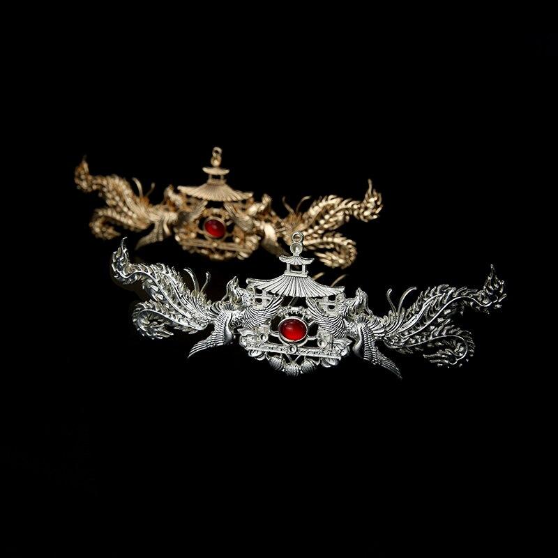 Pasador de pelo antiguo de plata dorada, accesorio de cabeza de guerrero antiguo para fotografía, Carnaval, halloween, cosplay, TV, película, Juego