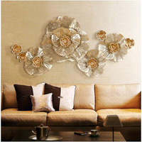 European Luxury 3D Stereo Wall Wrought Iron Peony Artificial Flower Crafts Decoration Home Hotel Wall Hanging Mural Ornament Art