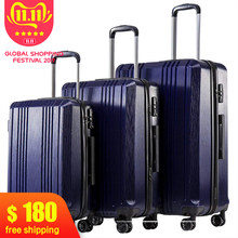 Ensemble de 3 pièces bagages avec TSA serrure Spinner 20in24in28in valise extensible PC + ABS ensemble de 3 pièces bagages Hardside(China)