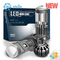 Stella auto H7/H4 mini led lens headlight bulbs projetor head lamp dipped beam high beam ice lamp for auto 55w 5500k white light