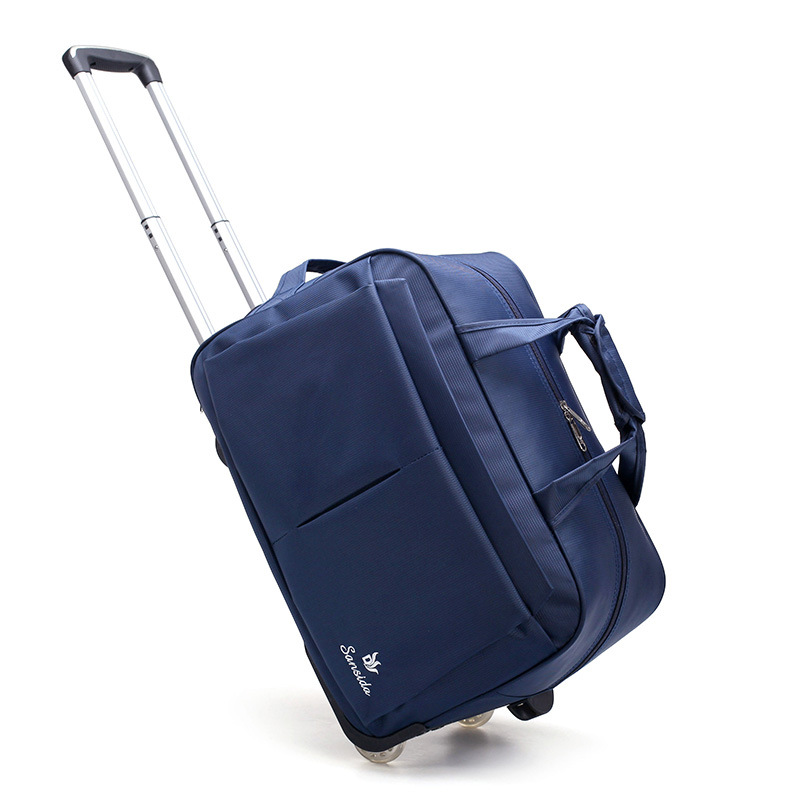24inch New Trolley Bag Lightweight Folding Travel Bag Large Capacity Oxford Cloth Wheel Pull Bag