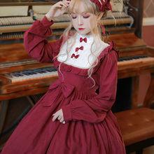 2021 Gothic Vintage słodka sukienka Lolita pałac koronki Bowknot szczupła sukienka w stylu wiktoriańskim Kawaii dziewczyna Lolita Op Loli przebranie na karnawał Y154 tanie tanio CN (pochodzenie) Wiosna jesień COTTON A-LINE Osób w wieku 18-35 lat O-neck Pełna Latarnia rękaw Łuk empire Patchwork