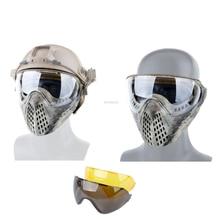 Outdoor Jacht Schieten Beschermende Masker Full Face Tactical Combat Maskers Cs Wargame Militaire Airsoft Paintball Masker 3 Lens