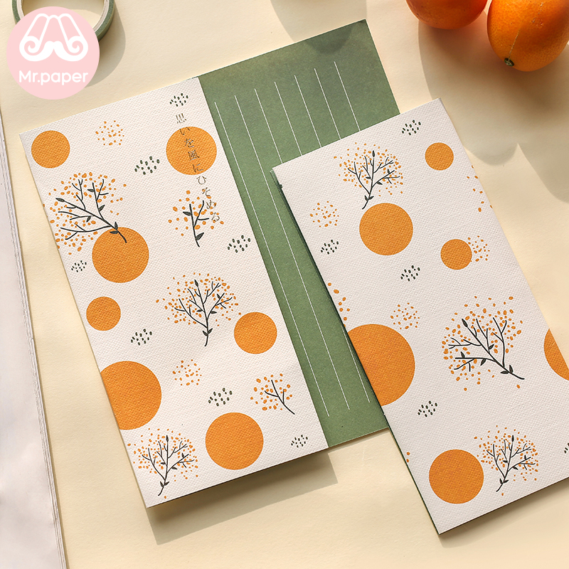 Mr Paper 4pcs/lot 6 Designs Missing Time With Love Flower Envelopes with Letter Paper Chinese Style Crane Flower Gift Envelopes 2