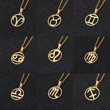 Rinhoo – collier en acier inoxydable en forme d'étoile du zodiaque, pendentif de 12 constellations, collier de chaîne en or pour femmes et hommes, bijoux cadeau