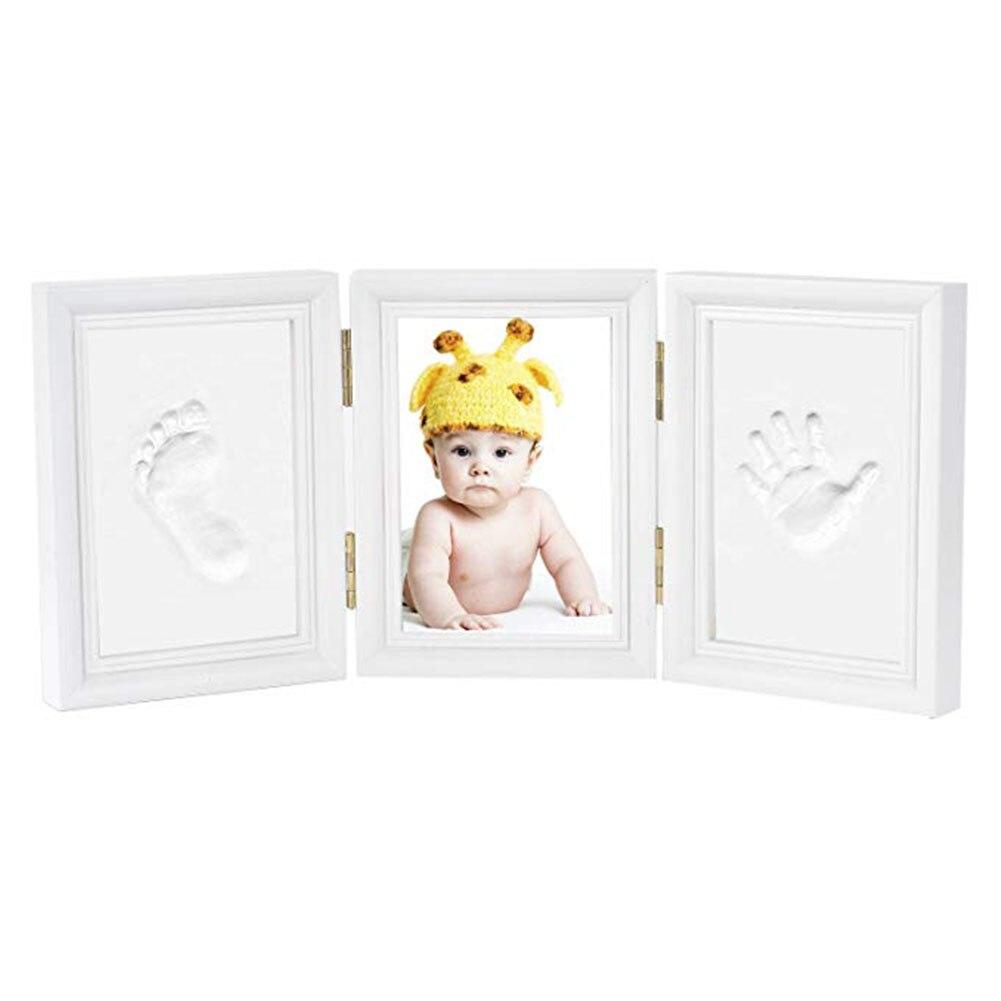 Newborn Baby Footprint Solid Wood Safe Gift Ink Pad Clean Tri-fold Non-toxic Photo Frame Desk Decoration DIY Handprint