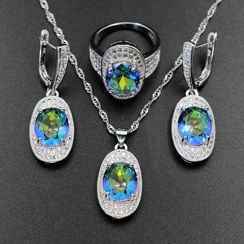 GZJY Women Rainbow Crystal Jewelry Sets 925 Silver CZ Earrings Necklace Pendant Vintage Ring For Wedding Bridal Dance Party(China)