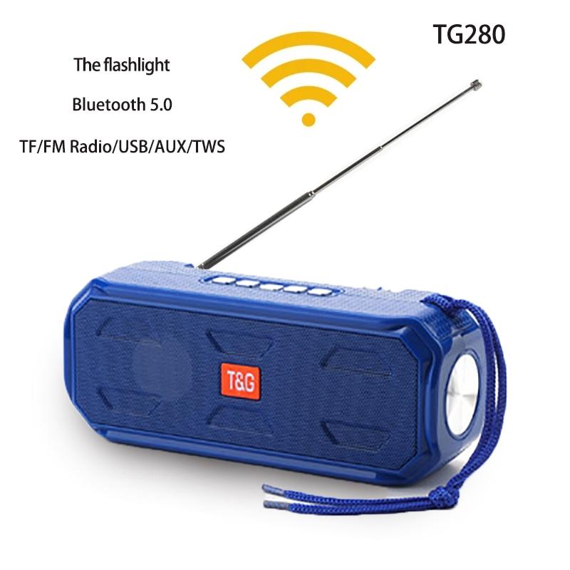 Haut-parleur Bluetooth sans fil Portable Super basse stéréo Subwoofer soutien TWS TF AUX /USB/AUX/ FM récepteur Radio avec lampe de poche