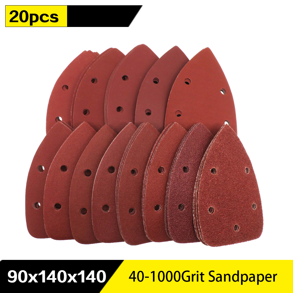 20pcs Self-adhesive Sandpaper Triangle 5 Holes Delta SanderHook Loop Sandpaper Disc Abrasive Tools For Polishing Grit 40-1000
