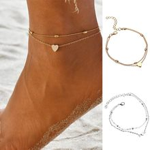 Tornozeleiras de aço inoxidável feminino amor coração charme tornozelo pulseira accesorios pequena joia anklet mujer boêmio jóias #50