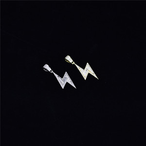 Image 3 - Gold Silver Color Iced Bolt Necklaces Fashion  AAA Zircon Pendant Lightning Pendants Jewelry Mens Hiphop Chains Drop Shipping