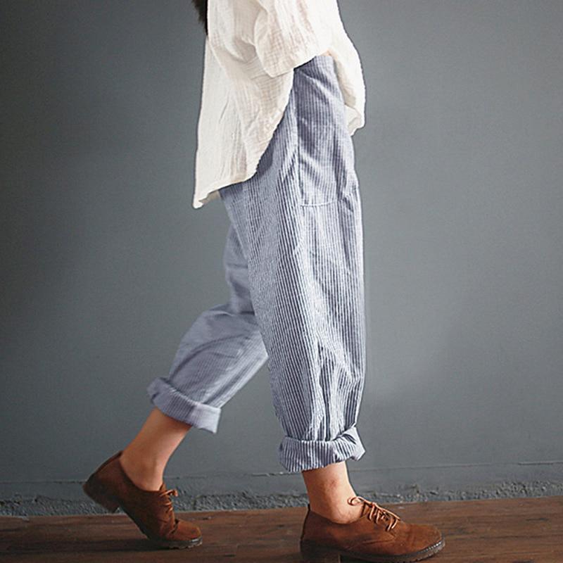 Осенние полосатые хлопковые льняные эластичные свободные штаны с высокой талией, длинные брюки, женские повседневные Капри с карманами