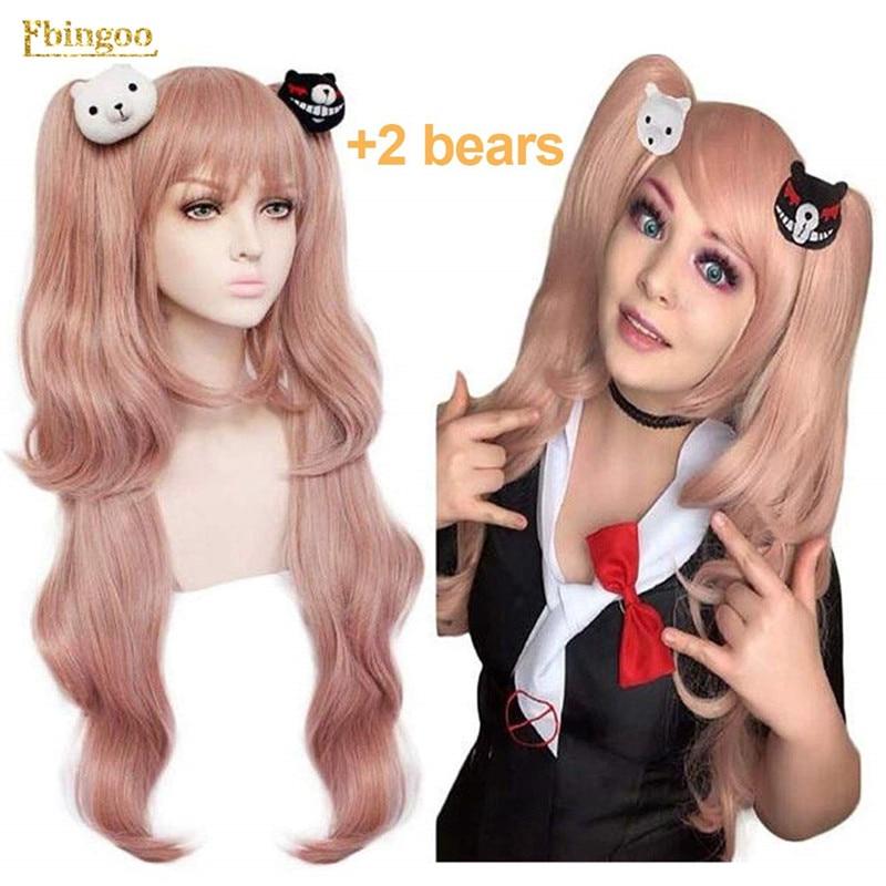 Ebingoo Danganronpa джунко эношима парик Двойной конский хвост Розовый Синтетический косплей парик длинный натуральный волнистый парик с челкой +