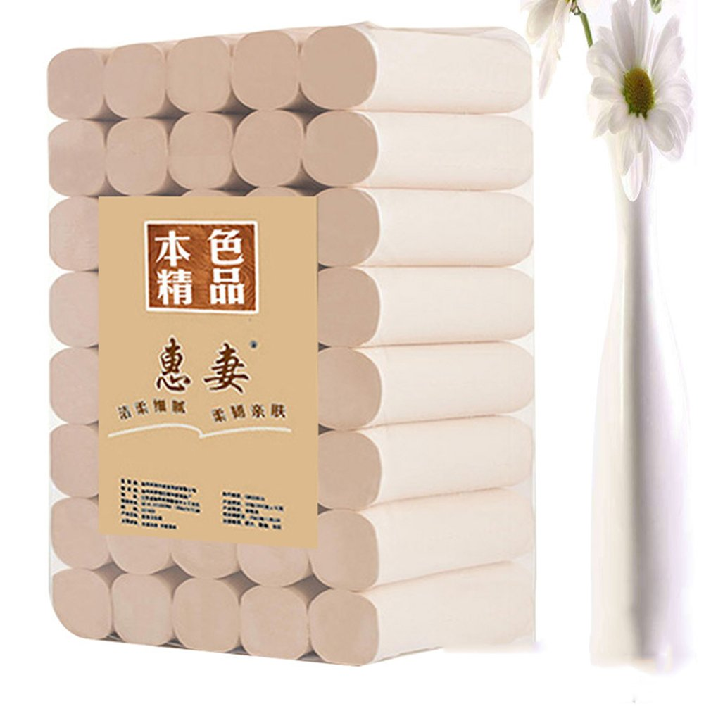 50 Rolls/Lot Fast Shipping Toilet Roll Paper 4 Layers Home Bath Toilet Roll Paper Primary Wood Pulp Toilet Paper Tissue Roll