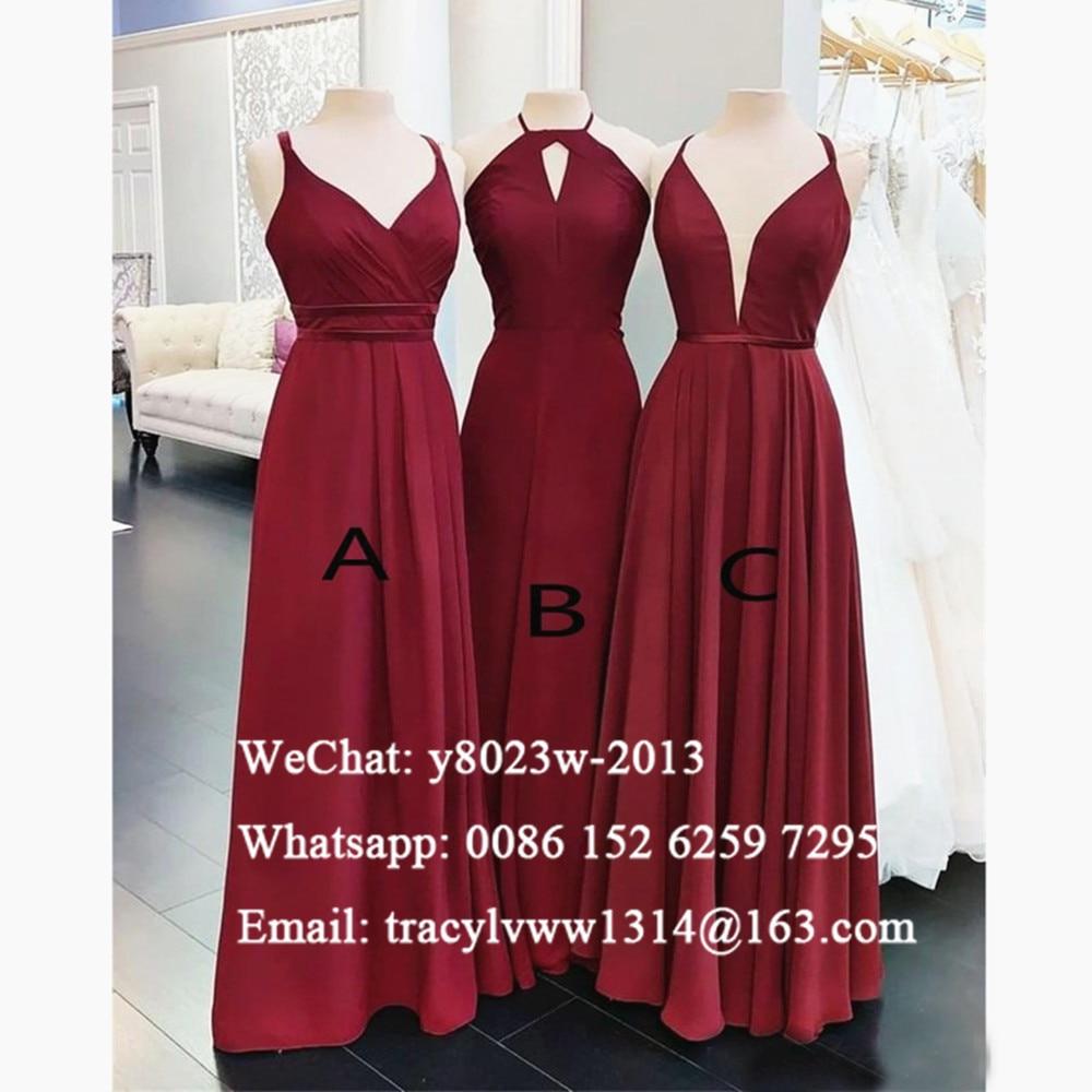Burgundy Chiffon Long Bridesmaid Dresses 2020 Sukienki Na Wesele Damskie Cheap Long A Line Wedding Party Dress For Women