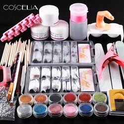 Acrílico unha arte manicure kit 12 cores prego brilho em pó decoração caneta acrílico escova falsa bomba de dedo ferramentas da arte do prego kit conjunto