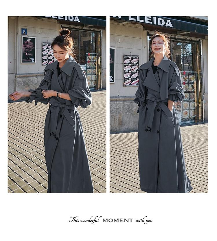 H027fd0e2d1df42c7a34cada96ea0b42c2 Korean Style Loose Oversized X-Long Women's Trench Coat Double-Breasted Belted Lady Cloak Windbreaker Spring Fall Outerwear Grey