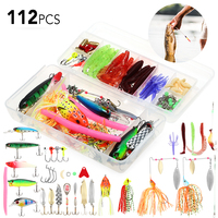 Lixada 112pcs Fishing Lure Set Worms Jig Hooks with Tackle Box Spinner Fishing Bait Fishing Accessories for pesca