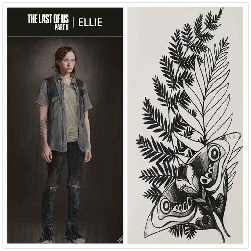 The Last Of Us: Part II Cosplay Ellie Fake Tattoo Water Transfer Waterproof Temporary Sticker Unisex Sexy Beauty Body Art Stuff