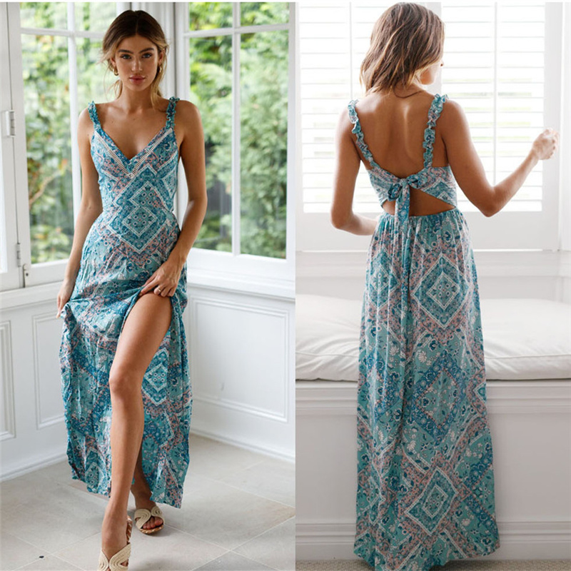 Oulylan Women Boho Long Dress Floral Chiffon Maxi Summer Beach Sleeveless Backless Evening Party Dresses Sexy Sundress