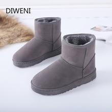 DIWEINI High Quality Australia Brand Winter Women's Snow Boots Cow Split Leather