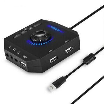 Adaptador USB Hubs Audio externo tarjeta de sonido estéreo con conector de 3,5mm y micrófono