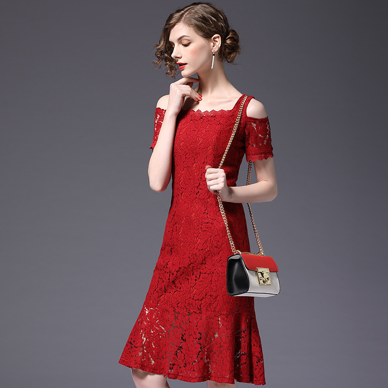 BacklakeGirls 2020 Boat Neck Off Shoulder Cocktail Dresses Sexy Lace Evening Gowns For Women High Quality Real Pictures Robe