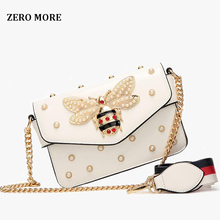 New famous brand women messenger bags black small chain crossbody bags female luxury shoulder bag pearl handbag 2019 Red White