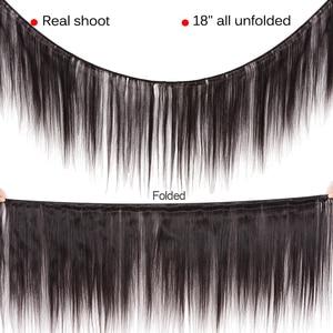 Image 3 - Lanqi ישר שיער חבילות עם סגירת שיער טבעי מארג 2 4 חבילות עם סגירה פרואני שיער חבילות עם סגירת שאינו רמי