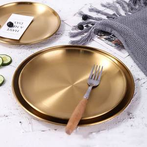 Tray Gold Storage-Organizer Dishes Serving-Plate Stainless-Steel Round Dinner Fruits