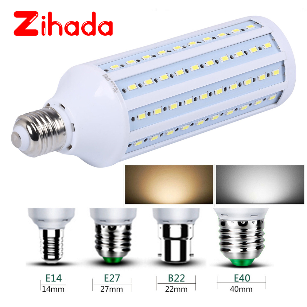 AC85-265V <font><b>LED</b></font> Bulb <font><b>Lamp</b></font> Light <font><b>LED</b></font> 5W 10W 15W 20W <font><b>30W</b></font> 60W 80W 150W 5630 2835 SMD Corn Bulb Energy Saving <font><b>Lamp</b></font> E27 B22 E40 E14 image