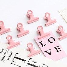 5pcs/lot Cute Pink Metal Binder Clips Folder Notes Letter Pa