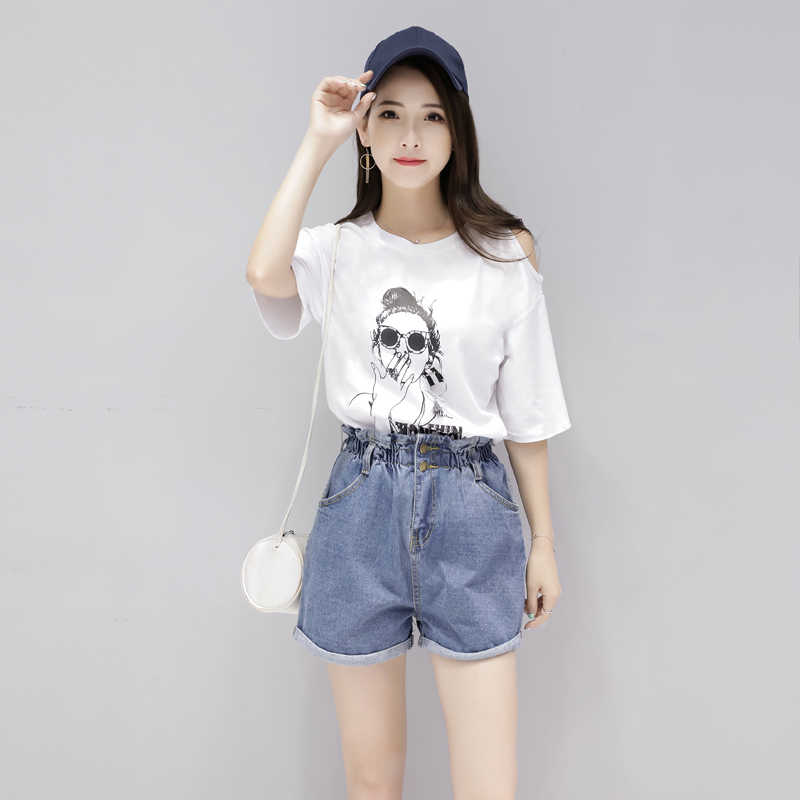 Summer Fashion Two Piece Set Top and Denim Short Pants Women's Costumes Casual Female Suit Print T-Shirts LWL447