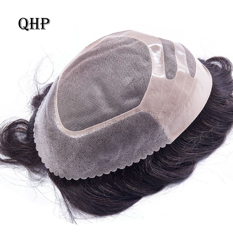 Mens Toupee Wig Replacement Systems Hairpiece Mono Lace With Thin PU 8x10 Natural Remy Indian Human Hair Handmade