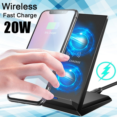 20W Double coil Qi Wireless Fast Charger Vertical Quick Charging Bracket High Power Docking Stand Pakistan