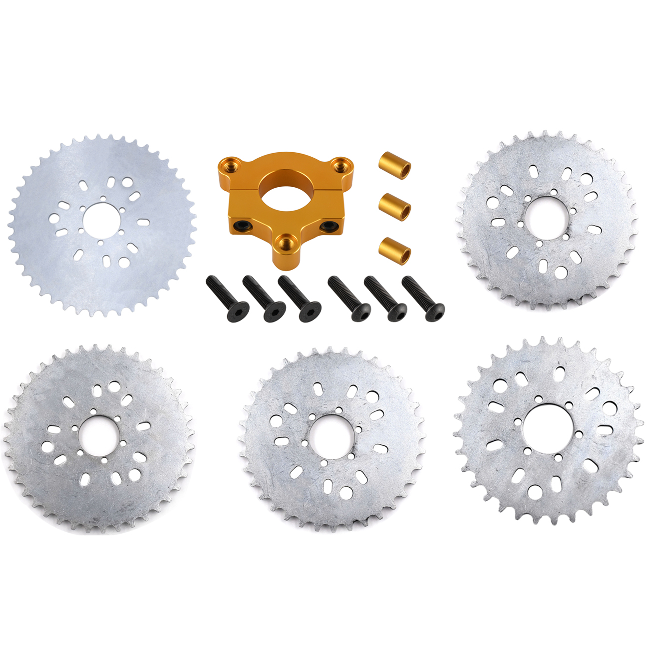 Pouvoir 32T 36T <font><b>38T</b></font> 40T 44T <font><b>Sprocket</b></font> Gold CNC Adaptor For 415 Chain Motorized Bike High Performance image