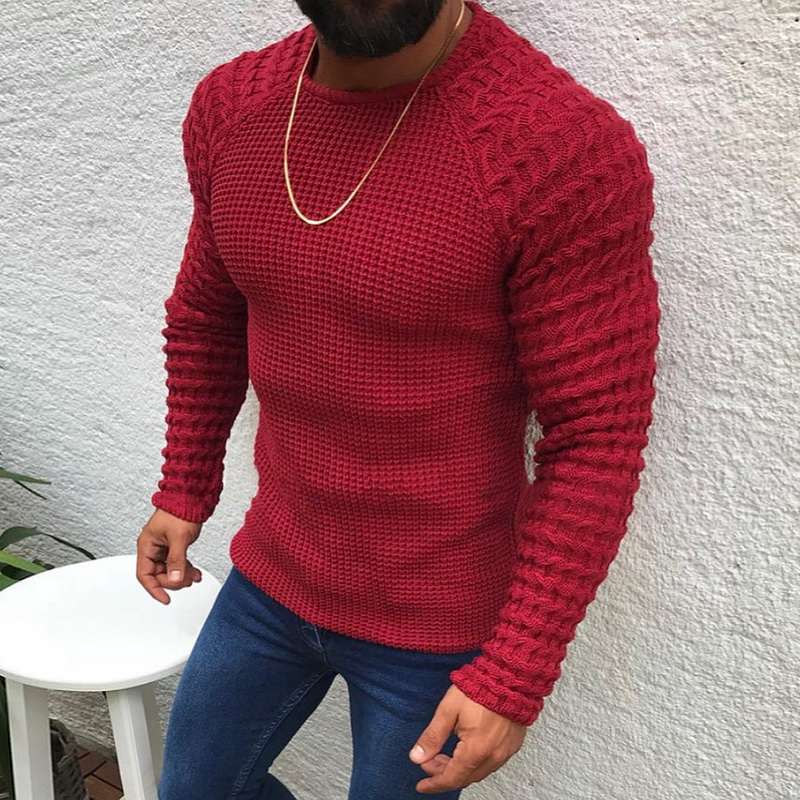 Men's Fashion Casual O-Neck Pullover Sweaters Fashion Autumn Slim Fit Long Sleeve Solid Color Knitwear 2019 New