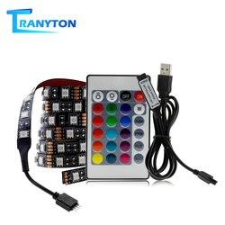 Lampe pour la maison, RGB bande LED USB, Flexible, 5050, lumière LED, DC5V, 1M 2M 3M, ruban pour rétro-éclairage de télévision de 40 -75 pouces, éclairage de fond de télévision