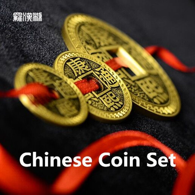 LuohanQian Chinese Coin Set 5 Coins+2 Shells (Gimmick+DVD) Magic Tricks Appearing/Vanishing Close Up Magic Props Magician Fun