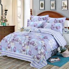 Purple Flower 4pcs Kid Bed Cover Set Cartoon Duvet Cover Adult Child Bed Sheets And Pillowcases Comforter Bedding Set 2TJ-61002(China)