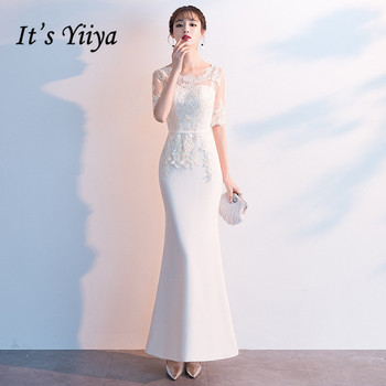 Evening Dresses White It's Yiiya AR513 Elegant Mermaid Robe De Soiree O-neck Lace Formal Gowns Half Sleeve Long Evening Dress 2020 elegant navy blue half sleeve evening dresses sequined sexy o neck abendkleider formal party long prom gowns robe de soiree