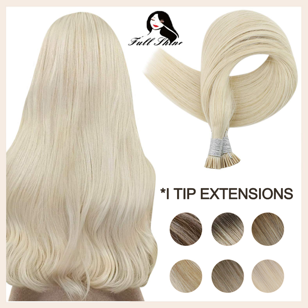 Full Shine I Tip Human Hair Extensions 50 Grams Stick Tip Keratin Remy Human Hair Pre Bonded Soft Straight Hair For Women