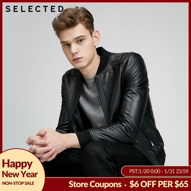 SELECTED Men's Sheep Wool Black Baseball Collar Leather Jacket S 420110504