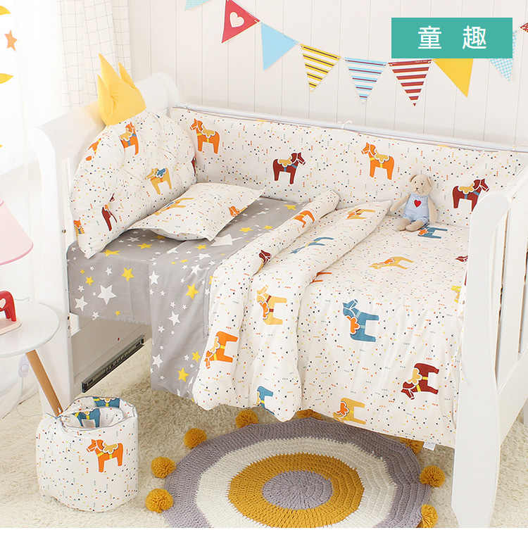 5pcs נורדי כתר כרית מיטת פגושים מיטת תינוק מצעי ערכת תינוק מצעי כותנה נשלף רחיץ תינוק עריסה צד מגן סט