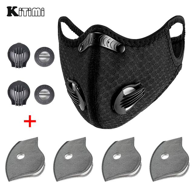 Mask With 4 Replacement Pad 2 Exhaust Valves Breathable Half Face Reusable Mask Face Cover For Cycling Outdoor Working Essential
