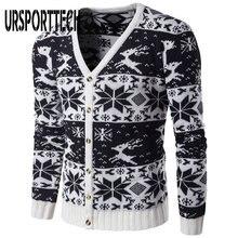 Модный Рождественский свитер Мужской осенне зимний теплый однобортный