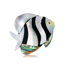 European and American personalized clothing accessories Joker fashion tropical fish brooch natural abalone shell corsage spot