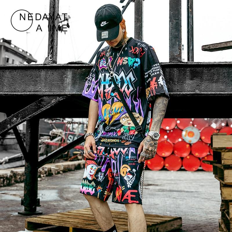 Men Graffiti Cartoon Printed Sets Hip Hop Shorts+T Shirt Suits Fashion High Street Tees Summer Streetwear Joggers Short Trousers