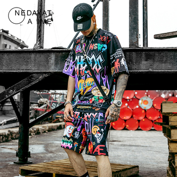 Men Graffiti Cartoon Printed Sets Hip Hop Shorts+T Shirt Suits Fashion High Street Tees Summer Streetwear Joggers Short Trousers