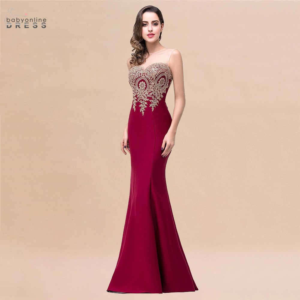 Sexy Backless Appliques Burgundy Mermaid Lace Long Prom Dresses  Royal Blue Black Evening Party Dress Vestido de Festa Longo 1